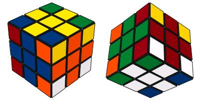 ) (15) 從上述「循環式」可以看到,上式的作用是把八個角塊扭轉(一半順時針,一半逆時針),並使其他邊塊、中心塊保持不動,正可達致所需的效果。 10. 六色同堂(6-Colour Cube) 還原魔方的目的是要令魔方的每個面只出現一種顏色,「六色同堂」則是要使魔方的每個面都出現六種顏色。由於六種顏色在九個小面上可以有很多可能配置,如要令這種花式呈現對稱美,並不是簡單的事。下圖顯示一個符合此要求的花式。在此花式中,每個面上的四個角塊都同色,其餘四個邊塊和中心塊各不同色,不僅符合了「六色同堂」的基本要求,而